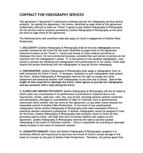 commercial photography terms and conditions template 9 videography contract templates to download for free