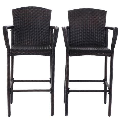 2 pcs rattan wicker bar stool high counter armrest chair