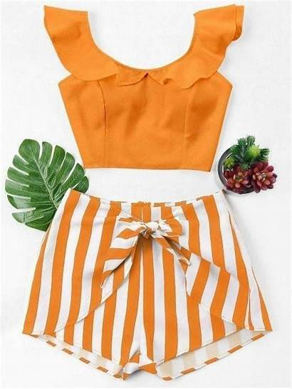 Piece Orange Outfits Ruffle Fashioncrest Outfit Striped