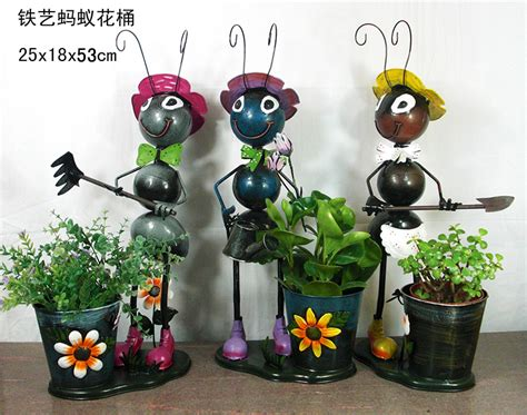 wholesale metal ants flower pots iron craft ants garden