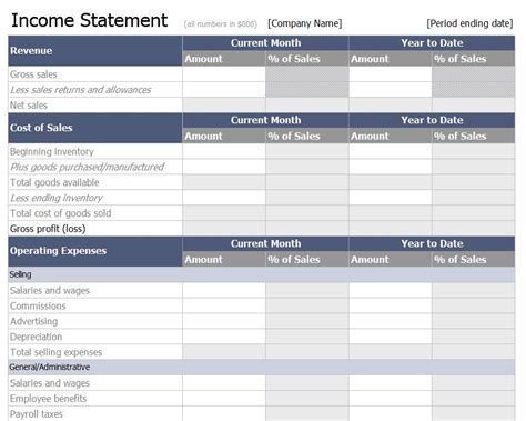 income statement template  income statement template