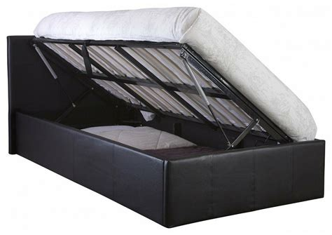 Side Lift Up 3ft Ottoman Bed Single Faux Leather Storage