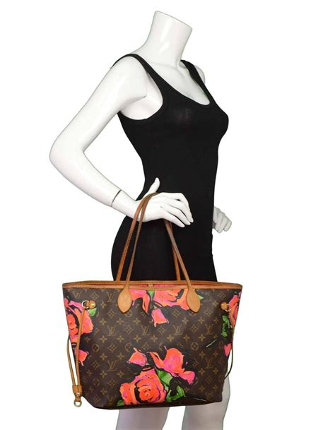 louis vuitton  edt monogram stephen sprouse roses neverfull mm tote bag  sale  stdibs