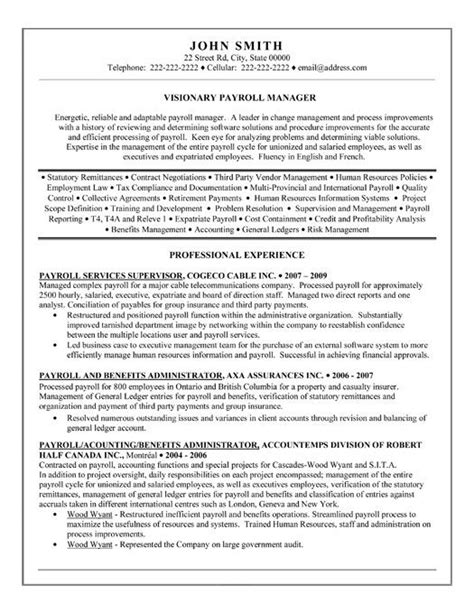 Employee Payroll Executive Resume by Payroll Manager Resume Template Premium Resume Sles Exle Resumes