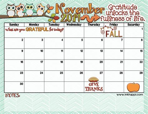 november  calendar   inkhappi