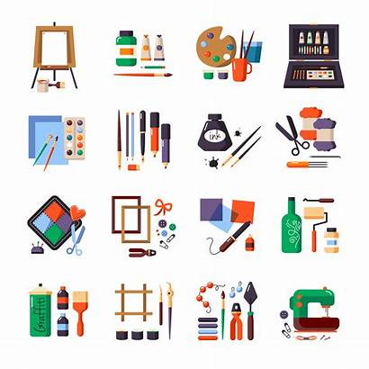 Icon Tools Materials Vector Painting Supplies Sewing