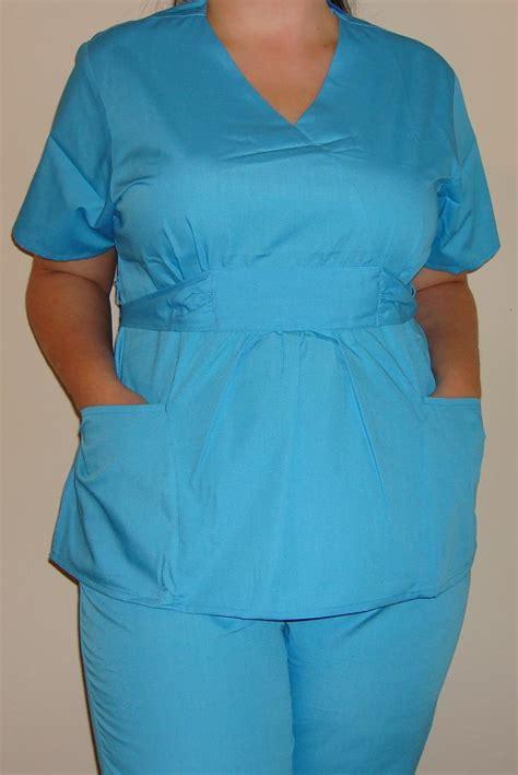 new women medical scrubs set empire waist navy blue ceil