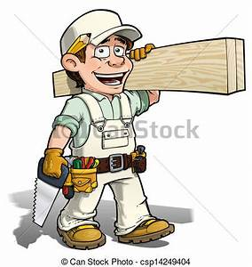 Stock Illustration of Handyman - Carpenter White - Cartoon ...