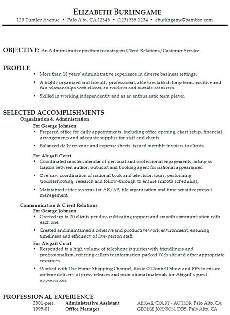 Exle Of Resume Objective For Administrative Assistant by Resume Administrative Assistant Client Relations Customer Service