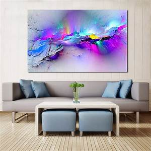 Wall, Pictures, For, Living, Room, Abstract, Oil, Painting, Clouds, Colorful, Canvas, Art, Home, Decor, Nk, 09