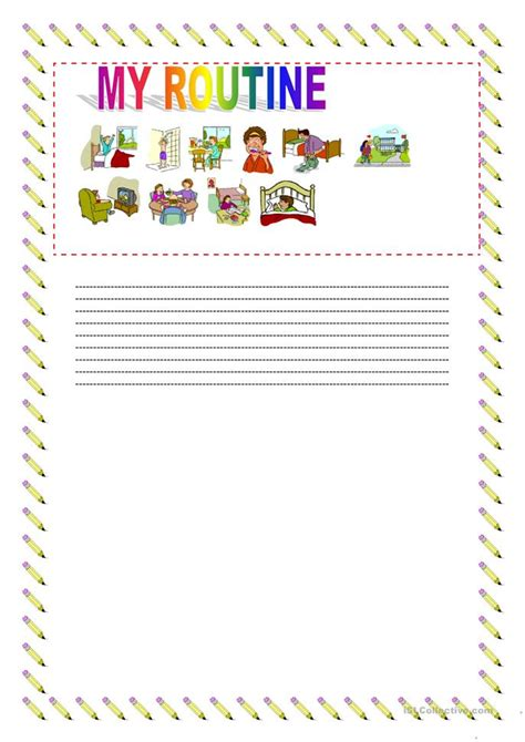 write   daily routine worksheet  esl