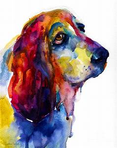 Brilliant Basset Hound Watercolor Painting Painting by