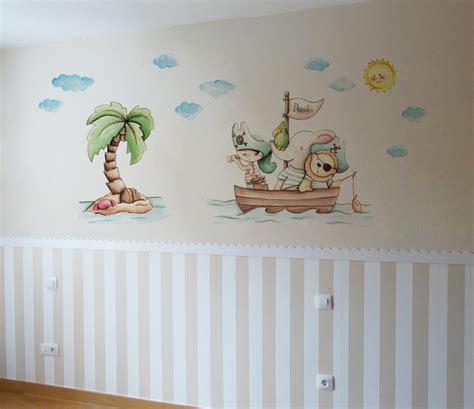 VINILO INFANTIL: Animales piratas con palmera: 116 00