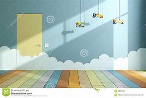 Empty Child Room With Toy Airplanes Stock Illustration