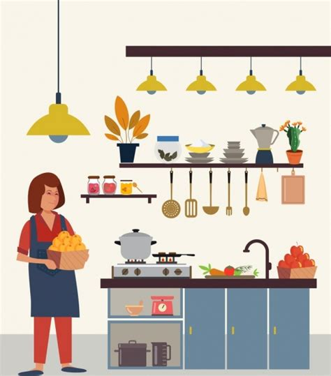 kitchen work drawing housewife utensil icons colored