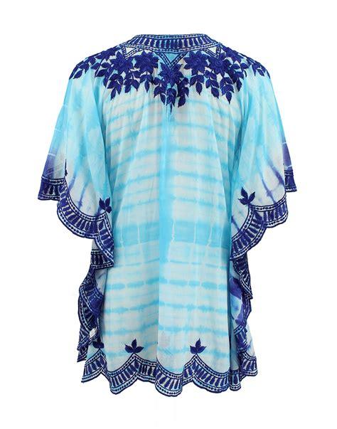 taj sleeve v neck embroidered tye dye tunic in blue