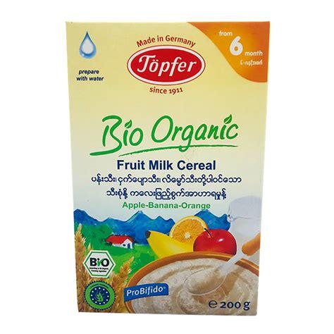 Topfer Bio Organic Fruit Milk Cereal Apple-Banana-Orange 200g