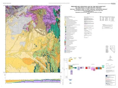 geological survey and mines bureau preliminary geologic map of the boulder city quadrangle clark county nevada map and text