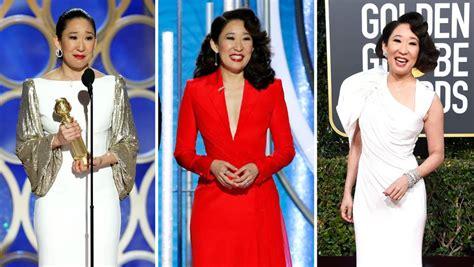 sandra oh red dress designer sandra oh wears all female designers at golden globes