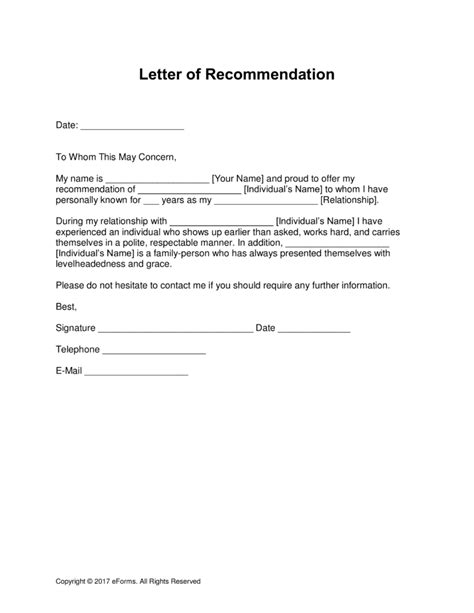 letters of reference free letter of recommendation templates sles and