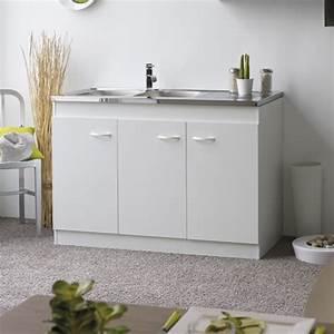 Meuble Sous Evier 120 : sous vier 3 portes 120 cm simply blanc ~ Nature-et-papiers.com Idées de Décoration