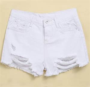 White Ripped Fringe Denim Shorts -SheIn(Sheinside)