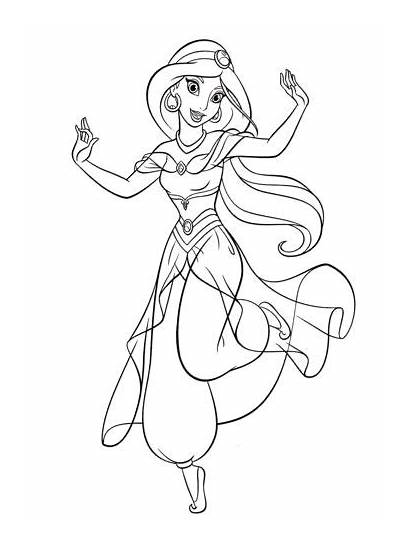 Jasmine Coloring Princess Pages Walt Disney Characters
