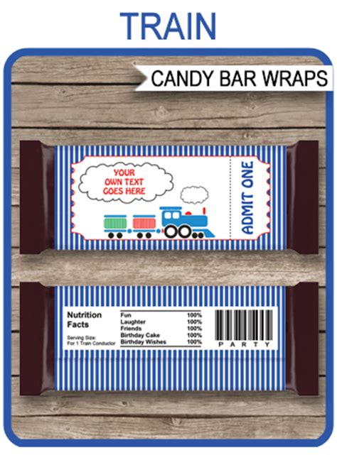 train hershey candy bar wrappers personalized candy bars