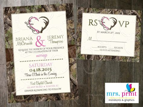 Hooked On Love Camo Wedding Invitation And Rsvp Card By