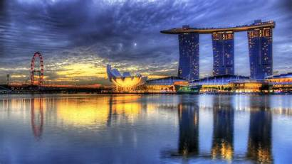 Singapore Marina Bay Sunset Sunrise Hdr Calm
