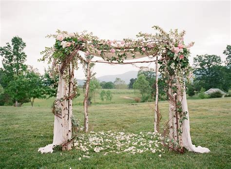 romantic birch and peony wedding arbor