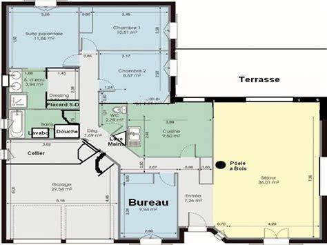 plan de maison plain pied 4 chambres gratuit chambre plan maison 4 chambres élégant plan maison en l
