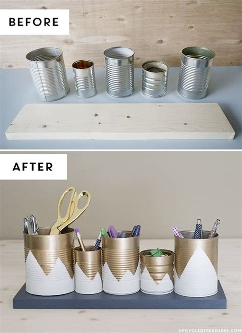 petit rangement bureau upcycled tin can organizer bureaux de cuisine crayons