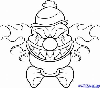 Clown Scary Draw Step Cool Drawing Coloring