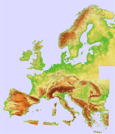 composite topographic hillshade map  europe europe maps
