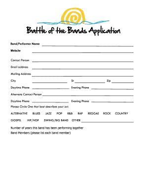 printable band contract  wedding edit fill