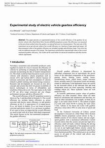 (PDF) Experimental study of electric vehicle gearbox ...