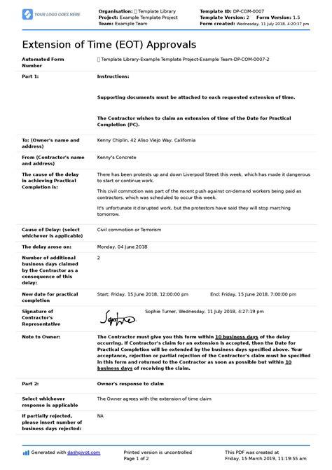 justification letter  project delay sample letter