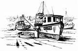 Boat Coloring Fishing Dock Broken Kidsplaycolor Boats Play Drawings sketch template