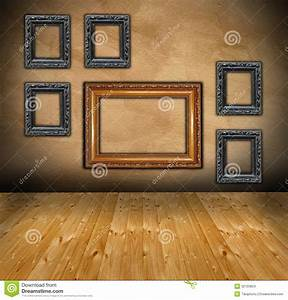 Wall with composition of empty frames stock images image