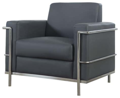 faux leather accent arm chair gray modern