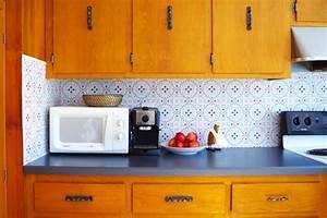 temporary backsplash using renters wallpaper 1360