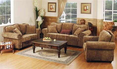 printed microfiber living room set  studded accents