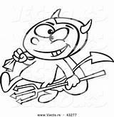 Pitchfork Devil Template Outline Coloring Cartoon sketch template