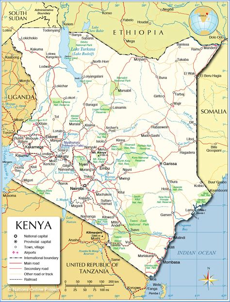 political map  kenya nations  project
