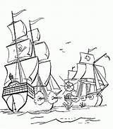 Pirate Coloring Ship Printable sketch template