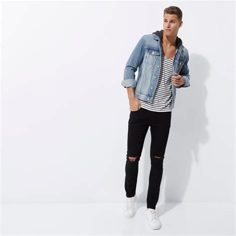 Light blue distressed hooded denim jacket - Coats u0026 Jackets - Sale - men