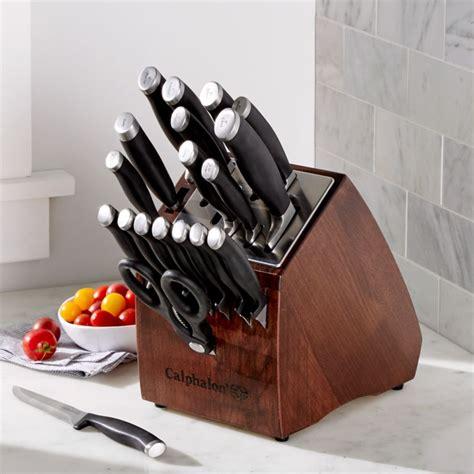 calphalon contemporary  piece knife block set  sharpin technology crate  barrel