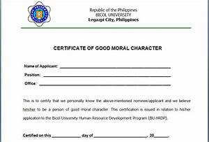 certificate of good moral character template - 6 character certificate templates certificate templates