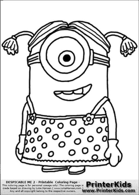 Kleurplaat Minions 2 by Kleurplaten Minions Despicable Me 2 Minion 2 Dress